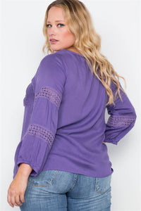 Plus size crochet trim v-neck boho top - crespo-cynergy