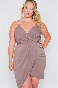 Plus size mocha tulip-hem evening dress - crespo-cynergy