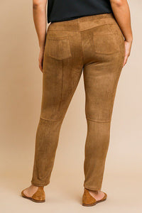 Suede skinny stretch pants - crespo-cynergy