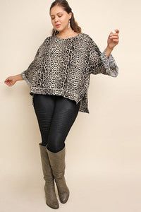 Jaguar print cuffed 3/4 sleeve top - crespo-cynergy