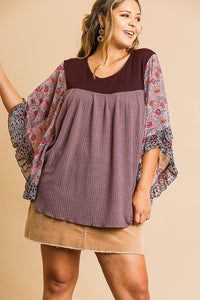 Sheer floral mixed print dolmen sleeve waffle knit yoke knit top - crespo-cynergy