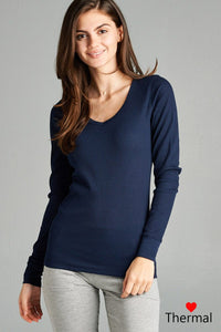 Long Sleeve V-neck Thermal Top - crespo-cynergy