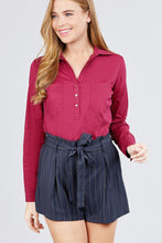 Load image into Gallery viewer, 3/4 Roll Up Sleeve Front Two Pocket W/button Detail Stretch Shirt - crespo-cynergy