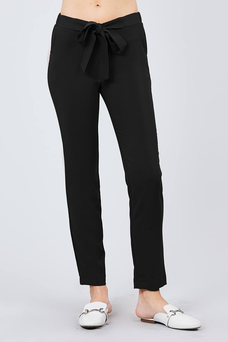 Front Ribbon Tied Pegged Long Pants - crespo-cynergy