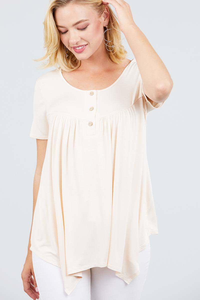 Short Sleeve Scoop Neck W/button Shirring Detail Rayon Spandex Top - crespo-cynergy