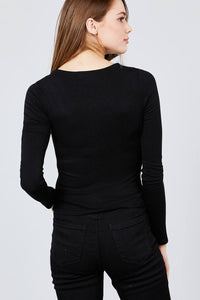 Long Sleeve Scoop Neck Front Button Detail Rib Knit Top - crespo-cynergy