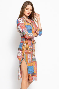 Print, Midi Tee Dress With 3/4 Sleeves, Collared V Neckline, Decorative Button, Matching Belt And A Side Slit - crespo-cynergy