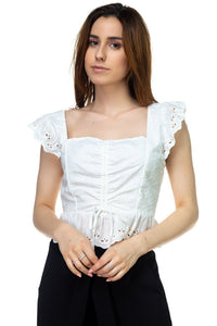 Embroidered Ruffle Cropped Top - crespo-cynergy