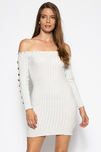 Off The Shoulder Knit Sweater Dres - crespo-cynergy