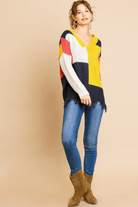 Color Blocked Long Sleeve V-neck Knit Pullover Sweater - crespo-cynergy