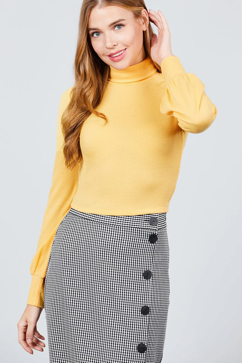 Long Sleeve Turtle Neck Rib Knit Top - crespo-cynergy