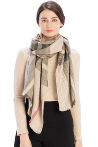 Pleated Plaid Pattern Scarf - crespo-cynergy