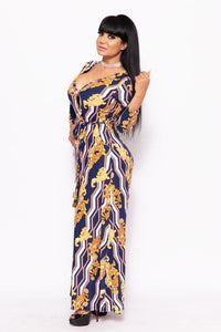 Elegant Maxi Dress With A Waist Tie - crespo-cynergy