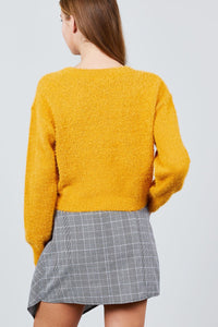 Long Sleeve Round Neck Crop Sweater - crespo-cynergy