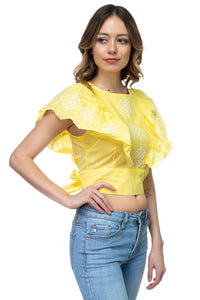 Embroidered Ruffle Sleeve Top - crespo-cynergy