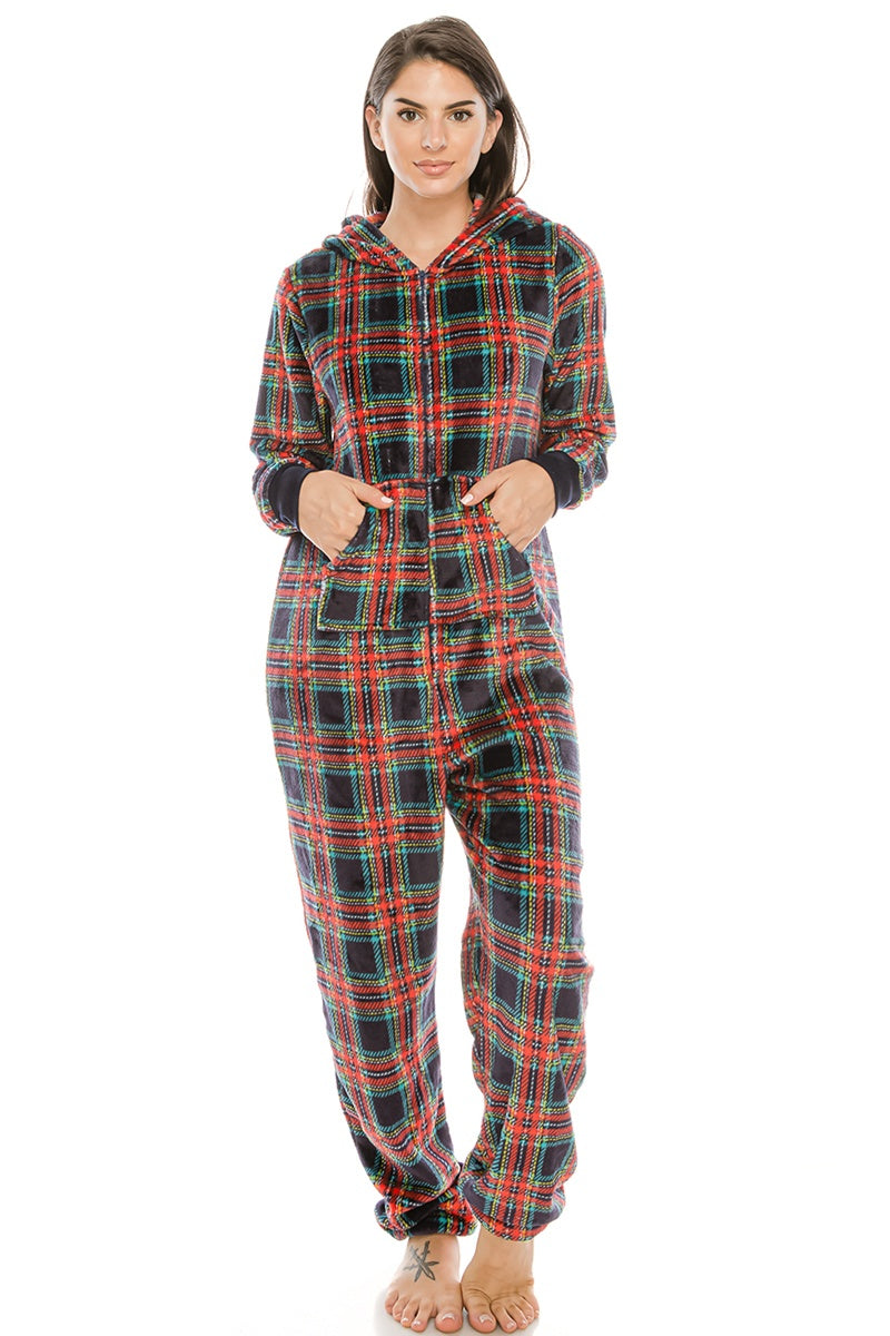 Flannel Jumpsuit Pj W/ Hoodie - crespo-cynergy