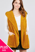 Load image into Gallery viewer, Open Front W/hoodie Faux Fur Vest