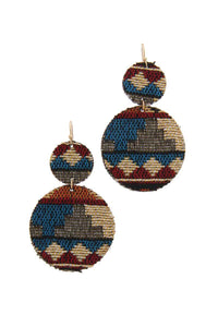 Double Circle Fabric Drop Earring - crespo-cynergy