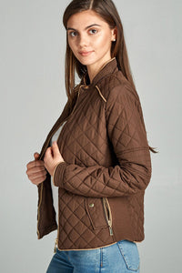 Quilted Padding Jacket With Suede Piping Details