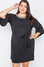 Load image into Gallery viewer, Plus Size Black Beaded Neckline Mini Dress