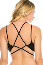Load image into Gallery viewer, Strappy Bralette W/ Velvet Overlay