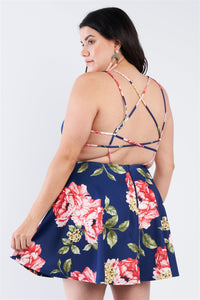 Plus Size Navy Floral Plunging V-neck Open Back Skater Mini Dress