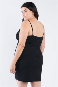 Plus Size Wrap Front Ruched Bodycon Mini Dress