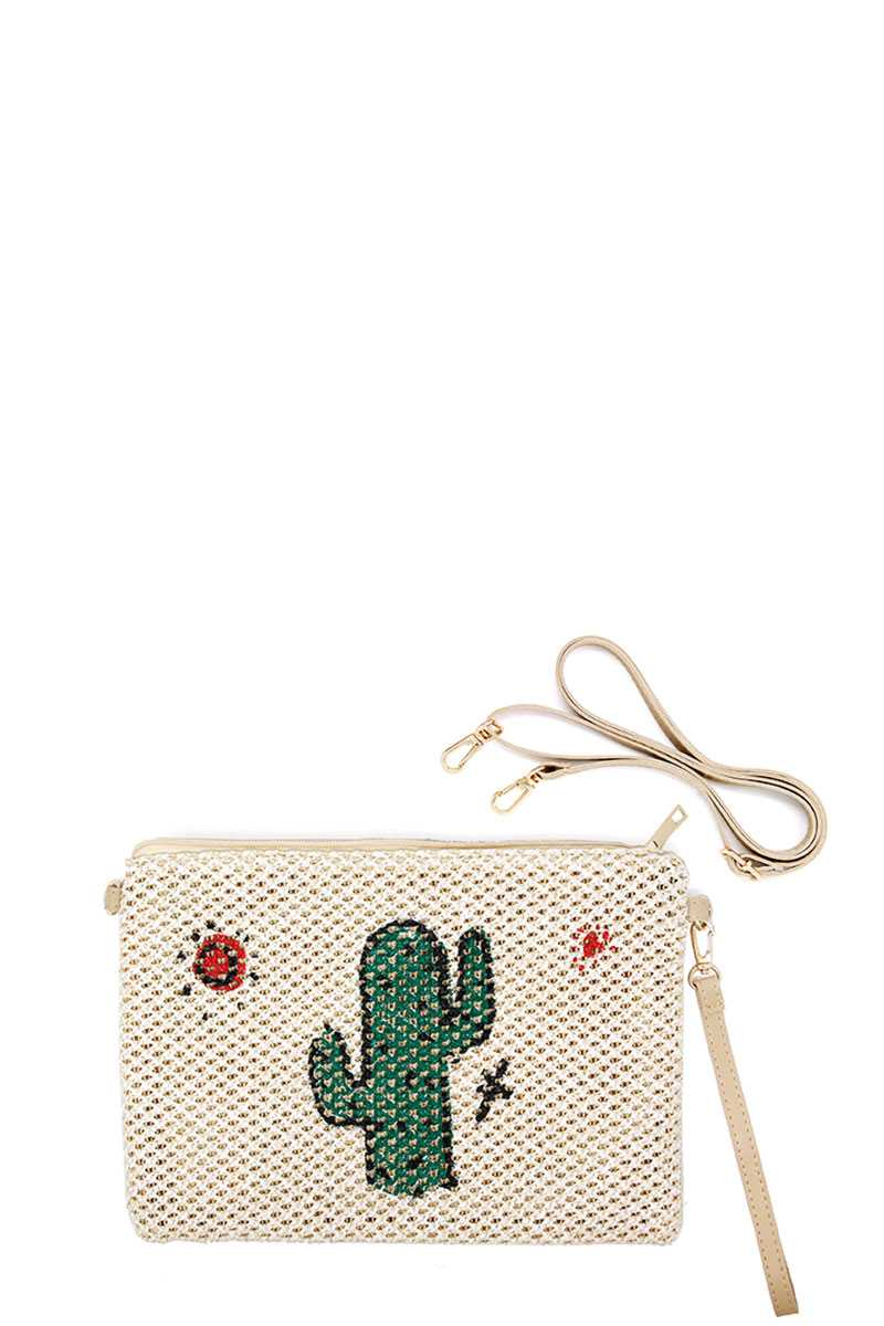 Cute Desert Cactus And Sun Print Straw Pouch Crossbody Bag