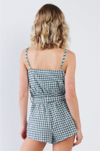 Green Checkered Layered Bow Cut Out Short Romper