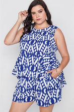 Load image into Gallery viewer, Plus Size Off White Blue Sleeveless Tribal Print Top