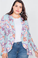 Load image into Gallery viewer, Plus Size Floral Print Blue Round Flounce Hem Blazer