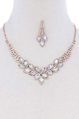 Multi Rhinestone Zircornia Necklace Bracelet And Earring Set