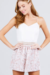 Sleeveless V-neck Waist Elastic Lace Band Print Romper