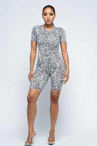 Animal Print Brushed Short Sleeve Top And Biker Pants And Face Mask Set