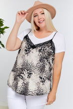 Load image into Gallery viewer, Scallop Edge Floral Lace Detailed Leopard Print V-back Cami Lounge Top
