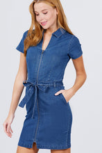 Load image into Gallery viewer, Short Sleeve Collar With Front Zipper Waist Ribbon Denim Mini Dress