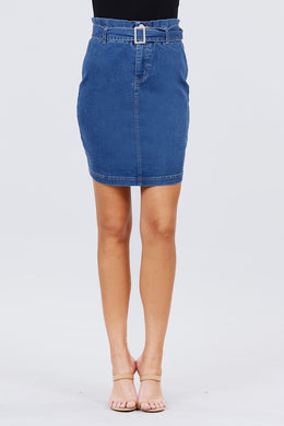 Elasticized Waist With Belt Side Pocket Denim Skirts