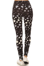 Load image into Gallery viewer, Long Yoga Style Banded Lined Stars Printed Knit Legging With High Waist.