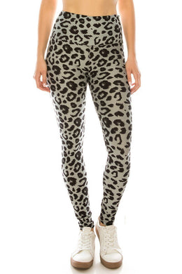 Long Yoga Style Banded Lined Leopard Animal Printed Knit Legging With High Waist.