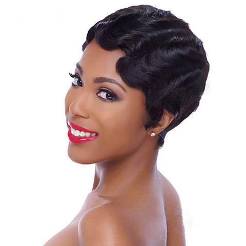 Wavy Finger Wave Mommy Pixie Cut Wigs - Hair Fetish Studio The Collection