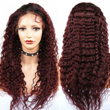 Diamond Burgundy Lace Frontal Deep Wave Wigs