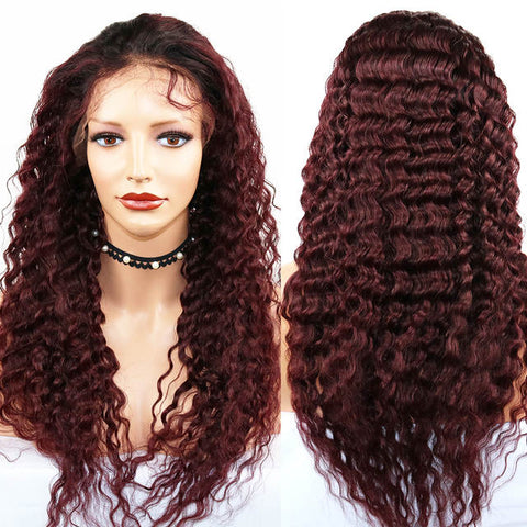 Diamond Burgundy Lace Frontal Deep Wave Wigs - Hair Fetish Studio The Collection