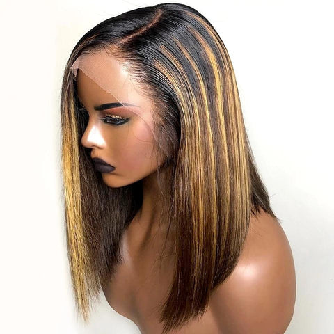 Diamond Straight Bob Blonde Highlights Lace Frontal Wigs
