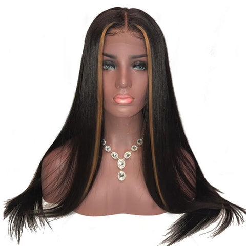 Diamond Straight Blonde Highlights Lace Frontal Wigs - Hair Fetish Studio The Collection