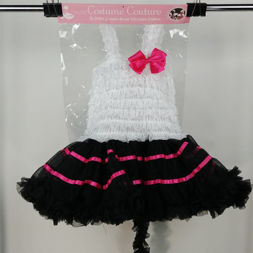 Costume Couture Black White Pink Kitty Cat Tutu Halloween Costume Girls Size M