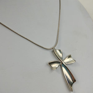925 Italy Sterling Silver Snake Chain Cross Twist Necklace 19""