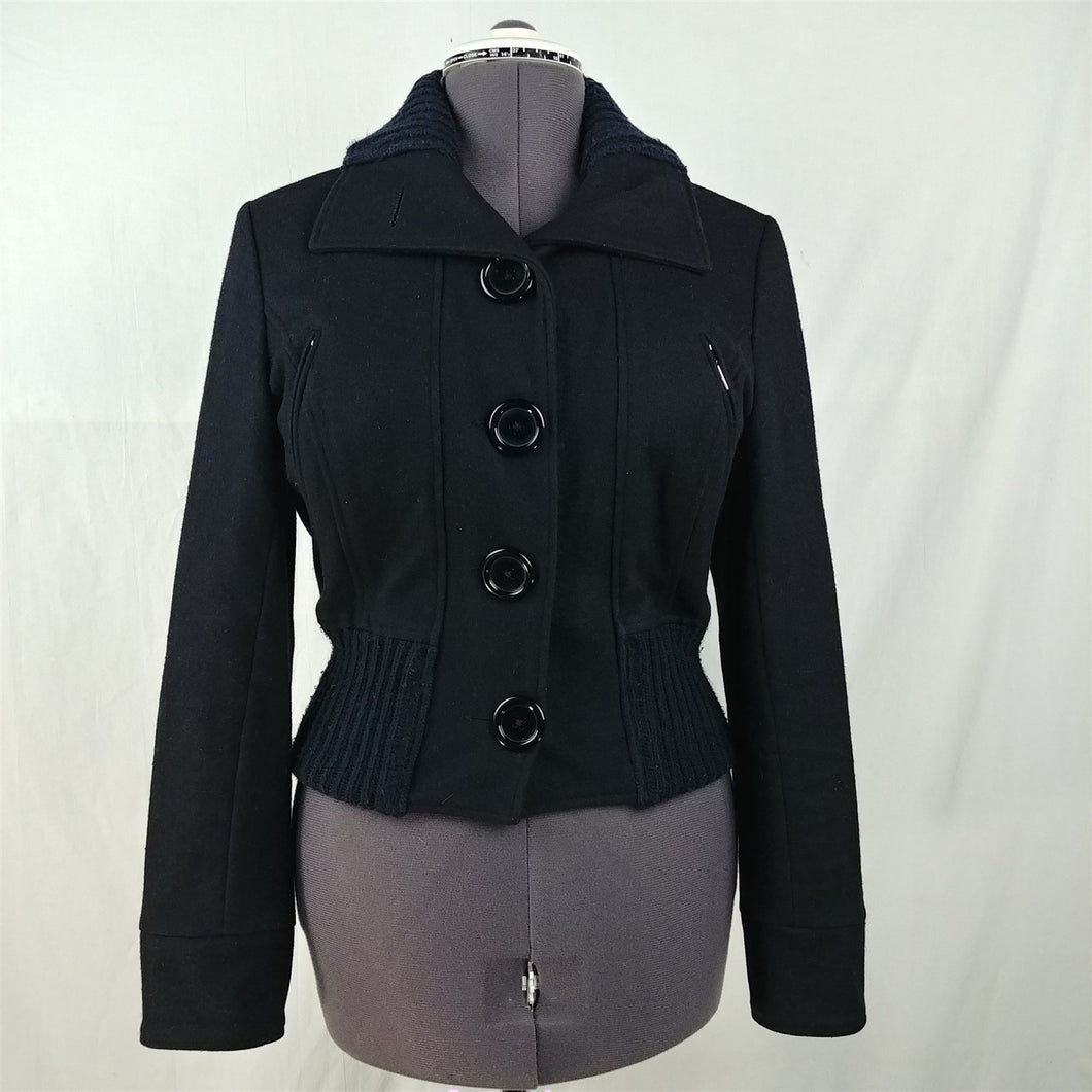 Vero Moda Black Wool Button Up Long Sleeve Lined Jacket Womens Size 10