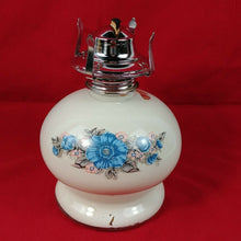 "Load image into Gallery viewer, Round White Lamp Light Farms 7"" Tall 4-1/2"" Base No.1 Burner Floral - Lot #11"