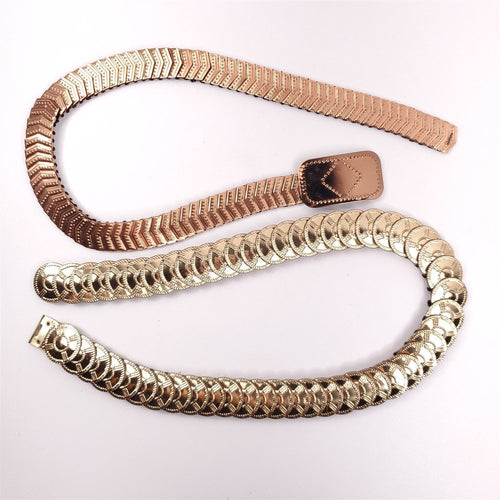 2 Stretch Scale Belts Metal Gold Tone Stretchy Elastic Ladies