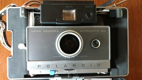 Early 1960's Vintage Polaroid Automatic 100 Land Camera w/ Case, Flash, acc.